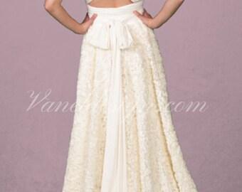 Convertible Wedding Dress, White Chiffon Rosettes