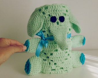 Baby Blanket Crochet Pattern - Elephant amigurumi toy & security blanket - newborn baby shower nursery gift -  Instant DOWNLOAD