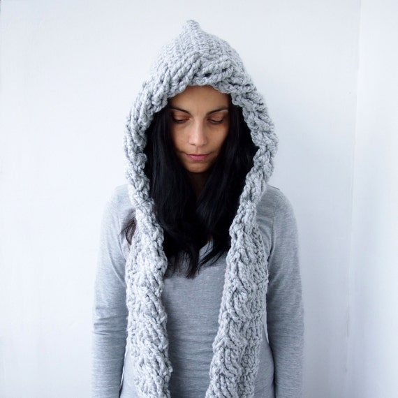 Crochet Pattern For Scarf Hood : Crochet Pattern hooded scarf cable pixie hood bulky woman