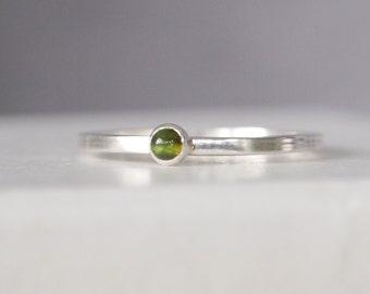 Green Tourmaline Ring - Sterling Silver Tourmaline Gemstone Ring - October Birthstone Jewellery - Moss Green Gemstone Ring - 3mm Tourmaline