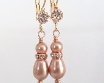Rose Gold Pearl Earrings, Pearl Drop Earrings,Teardrop Earrings,Bridal Earrings,Bridal Jewelry,Bridesmaids Earrings, Rose Gold Earrings