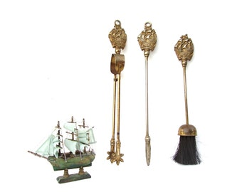 Vintage Fireplace Tools Nautical Brass Sailing Tall Ship Hearth Tool Set Broom Fire Poker Log Tongs HMS Victory Clipper Ships
