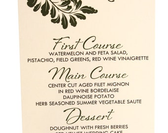 Wedding Dinner Menu 50qty, Leaf Reception Menu, Personalized Wedding Table Setting Custom Designed