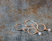 tiny gold fill figure 8 infinity loop earrings with natural AA chalcedony