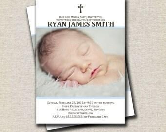 Boy Baptism Invitation | Boy Christening Invitation | Communion Confirmation Dedication Photo Invitation