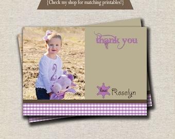 Cowgirl Thank You Card - purple | Western Thank You Card - purple | Purple Cowgirl Party Printables