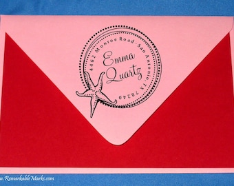 Beach Wedding Starfish or Sea Star Address Stamp Custom Personalized Return Address Nautical Address Mounted Stamp