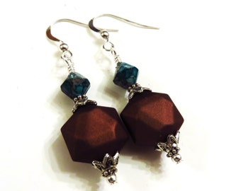 Brown Earrings With Blue Mosaic Turquoise Beads