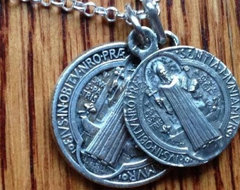 """Saint Benedict Double Protection Antique Religious Medal Pendants on 18"""" sterling rolo chain"""