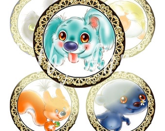Digital Collage of Funny Animals - 108 20mm Circle JPG images - Digital Collage Sheet