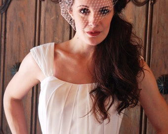 Customizable Old Hollywood Glamour Silver Crystal Rhinestone Birdcage Wedding Veil - Nice