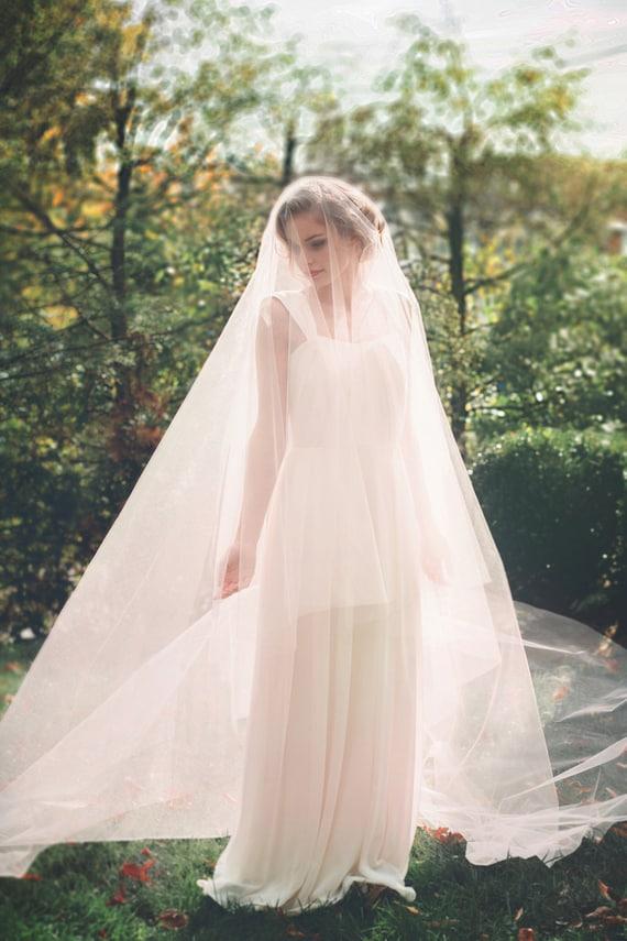 SALE Blush Pink Cathedral Wedding Veil Circle Cut