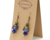 Light and Dark Blue glass bead earrings with filigree - special holiday price!  gifts under 10