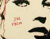 Kate Moss Portrait Fashion Illustration 9x24 JAI FAIM French Text Original Graffiti Inspired Stencil and Spray Paint Original Art on Canvas