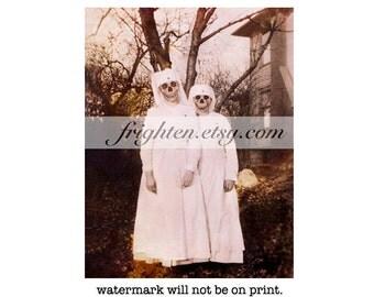 Creepy Halloween Art, Skull Art Print, Creepy Nurses, 8.5 x 11 Inch Print, Halloween Decor, Macabre Decor