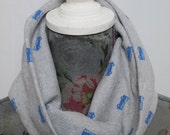 Childrens jersey snood scarf in grey and blue lorry/fire engine print age 3-12 yrs, snug, cool childrens wear, cute kid, stocking filler