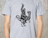 Chewbacca Riding a Velociraptor Dinosaur - Men's T-Shirt  - American Apparel Screen Printed T-Shirt