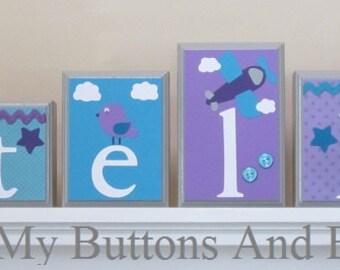 Nursery Shelf Decor . Nursery Name Decor . Children's Name Blocks . Custom Name Blocks . Wall Decor . Purple Turquoise . Stella