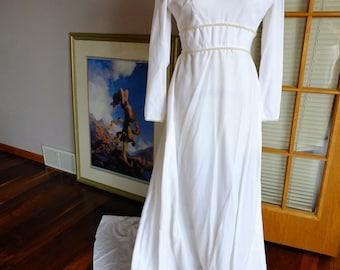 Vintage wedding dress white velvet wedding dress peals empire celtic renaissance design