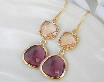 Plum and Champagne Dangle Earrings Trimmed in Gold-Bridesmaid Earrings- Wedding Earrings-Bridal-Wedding-Gift For Her