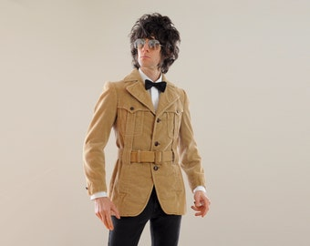 mens vintage Norfolk jacket 70s corduroy sport coat 1970s belted Norfolk jacket J L Brandeis Spain 36R 36 slimfit Lucky 7