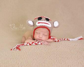 newborn photo prop, little monkey newborn/ baby hat, newborn boy, newborn girl, newborn hat, newborn knit hat, baby knit hat, photo props