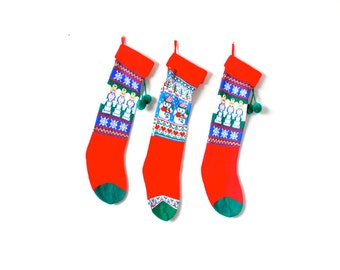 Vintage set of three christmas stockings // red blue angle snowmen matching stockings // knit stockings // family stockings // 3 stockings