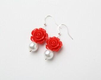 red rose earrings, bridesmaid earrings, red wedding, wedding jewelry, bridesmaid gift, rose and pearl earrings, made in Canada