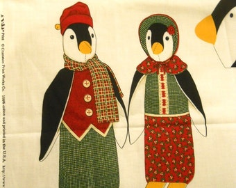 Mr & Mrs Penguin - Sewing Fabric Panel