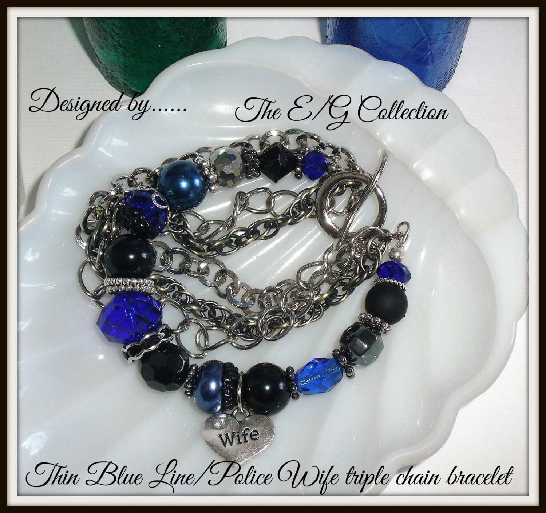 thin blue line bracelet police wife bracelet law enforcement. Black Bedroom Furniture Sets. Home Design Ideas