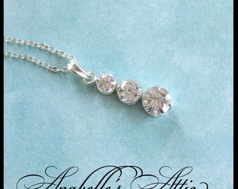 Rhinestone Pendant / Three Stone Graduated Necklace / Eternity / Modern Bridal Jewelry / Triple Drop