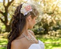 53 Different Colors-Cream Burlap Birdcage Fascinator-Ivory Bridal Veil-Wedding Headpiece
