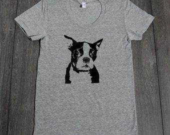 Boston Terrier Shirt - American Apparel Screenprinted- Heather Grey - Women's