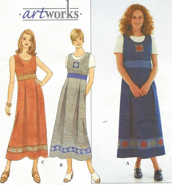 90s Womens Empire Waist Dress or Jumper and Knit Top