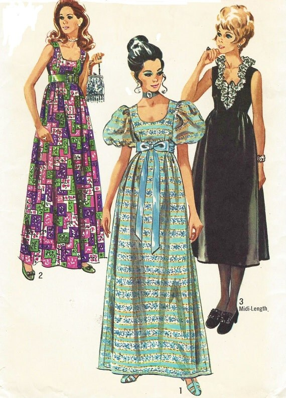 1970s Simplicity Sewing Pattern 9025 Womens Empire Waist