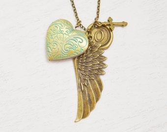 angel wing locket,remembrance locket,heart jewelry,meaningful locket,best friend gift,friendship necklace,bff jewelry,keepsake,religion gift