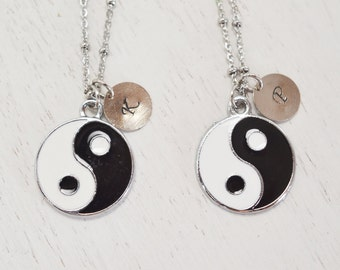 personalized necklace, custom jewelry, ying yang, friendship, silver necklace, friendship jewelry, christmas, bridesmaid gift, yoga jewelry