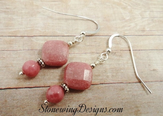 Sterling Silver and Rhodonite Gemstone Dangle Earrings