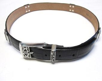 Black Belt Silver Size M Mens Brighton