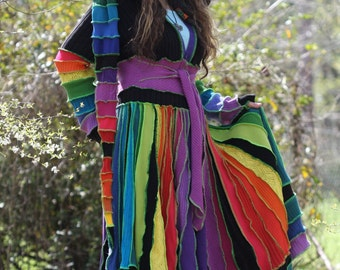 OOAK Made for you Custom size  upcycled Rainbow OZ  Kaleidoscope recycled sweater traveling dream elf coat