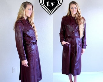vtg 80s Oxblood LEATHER military fitted TRENCH COAT Medium burgundy belted outerwear jacket boho hippie