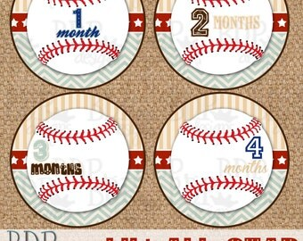 "Baseball Lil' All-Star Monthly Onesize Stickers - 4"" diameter"