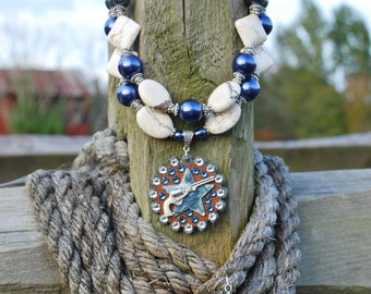 """SET - Western Rodeo Cowgirl Handmade Artisan """"Pistol Packin' Mama"""" Necklace with Matching Earrings"""