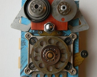 Recycled Art - D.A.C.H. Bot - Dog Art - Mixed Media Assemblage - Found Object Art by Jen Hardwick