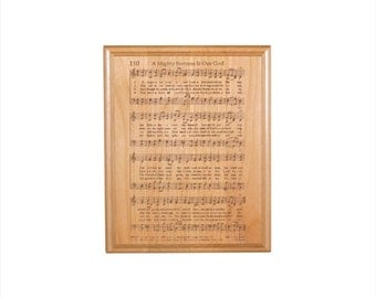 A Mighty Fortress Hymn Plaque - Engraved Solid Alder Wood - Christian Gift - Religious Wall Decor