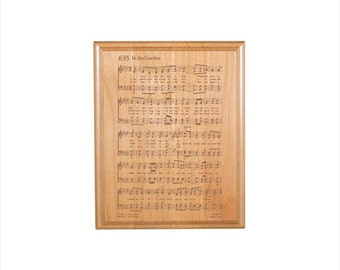 In the Garden Engraved Hymn Plaque - Engraved Solid Alder Wood - Christian Gift - Religious Wall Decor