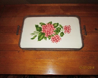 Antique Porcelain Serving Tray / Large Handpainted Tray With Handles