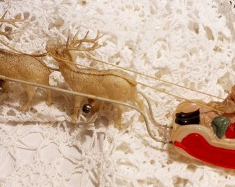 Antique Sleigh Santa Claus Christmas Sleigh Celluloid Flying Reindeer with Bells 1940s Japan