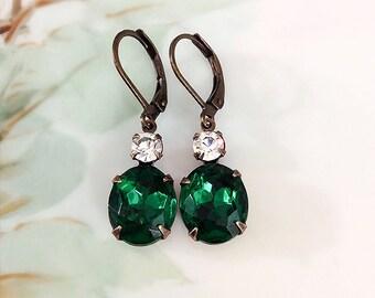 Emerald Green Earrings Vintage 50's Emerald Green Glass Rhinestone Dangle Earrings May Birthday Prom Wedding Bridesmaid Jewelry