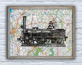 Old locomotive  on Original France Roads Map Vintage Print, Art Print map Train art  Print on Vintage map,map train  TVH128